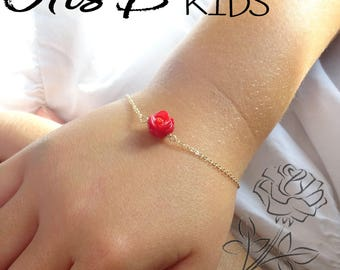 Red Rose bracelet, Back to school gift, little girls flower bracelet, preschool gift, kindergarten gift, sterling silver, gold, carved rose
