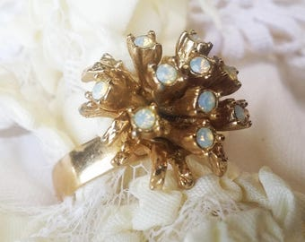 Vintage Crystal Rhinestone Adjustable Cluster Ring  - 1980s - Great for a Bridal Shower or Prom - Vintage