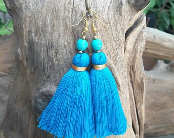 Blue tassel&Turquoise stone earrings,Hand made jewelry,Blue earrings,Turquoise earrings.