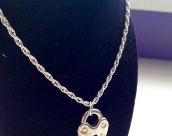 Heart Lock Charm Necklace - Silver