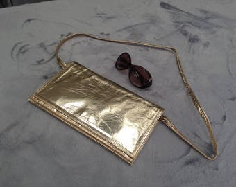 Vintage 1980s gold leather evening bag with shoulder strap