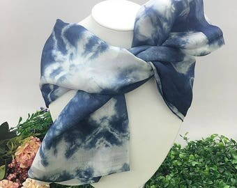 CadetBlue Hand Dyed Silk Scarf, Anniversary Birthday Gift for Her, Genuine Art, Authentic Gift for Her [VS04]