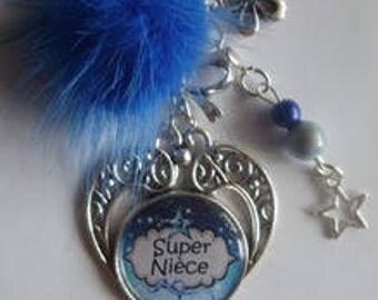 "Bag charm, door keys/NIECE / party/gift/Christmas /anniversaire/ ""Super Niece"""
