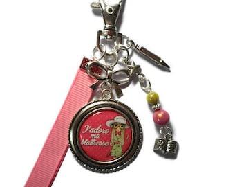 """Bag charm, door keys/teacher gift / """"I love my teacher"""" / gift / season / thanks/Christmas/birthday"""