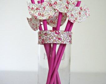 Hot pink paper straws Pack: liberty Eloise pink bird