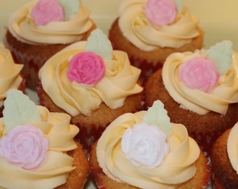 Cupcake toppers - beautiful Edible Hand Crafted  Rose and leaves in shades of white and pink stunning finish to your cakes