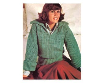 Polo Pullover Crochet & Knitting Pattern