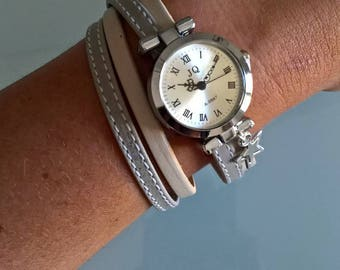 Leather double twist watch