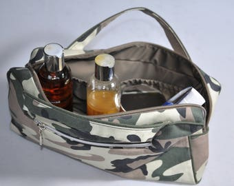 Military canvas zippered toiletry bag