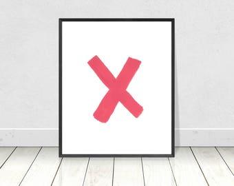 Pink X print, Printable art, kiss wall decor, love print, pink X typography poster, Scandinavian style, minimalist art print, XO decor