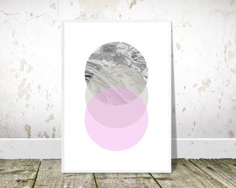 Black White Pink Abstract, Geometric circles, PRINTABLE art,Nordic Print,Scandinavian Wall Art,Scandi Minimalist Print,Modern Abstract Decor