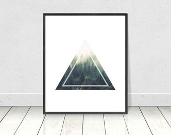 Forest Print, Triangles, PRINTABLE Art, Scandinavian, Trees, Tree Art, Minimalist, Geometric Print, Scandinavian Poster, Home Decor,Wall Art