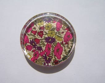 Cabochon 25 mm round and flat with its liberty image purple Green Pink