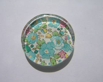 Cabochon 25 mm round and flat with its liberty picture green blue