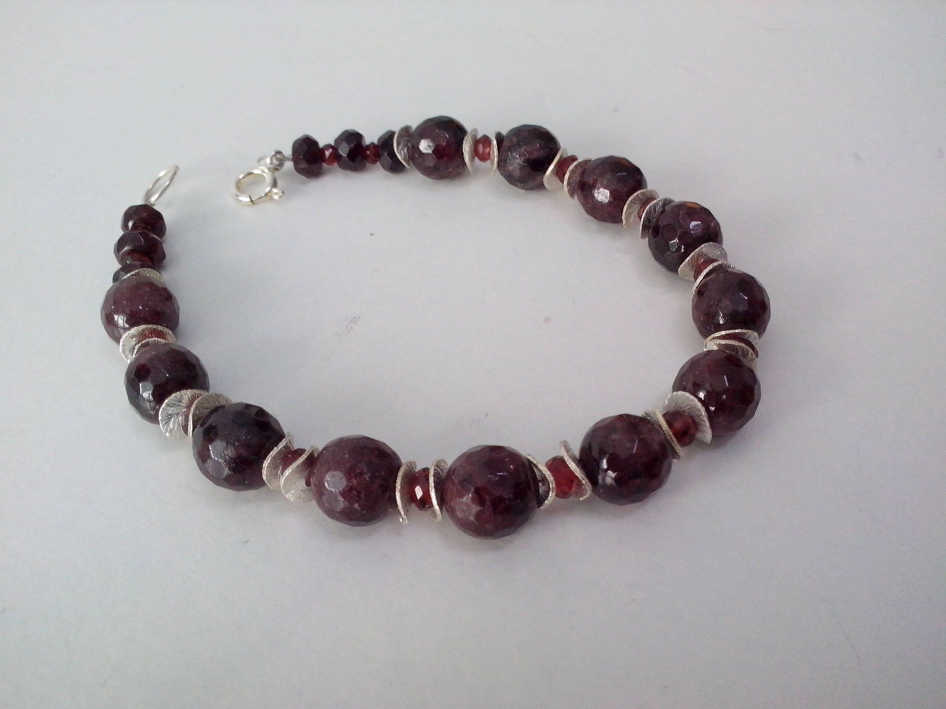 bracelet mens men deep s red garnet rich