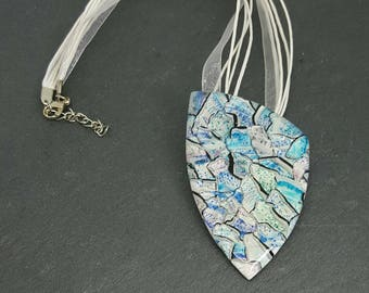 Water color inks mosaic polymer clay pendant