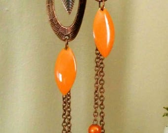 long earrings copper and orange