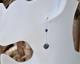 925 sterling silver heart ear studs / Lapis lazuli / silver plated heart / stone of harmony and self confidence / Valentine's day