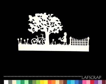 1 cut scrapbooking scrap border girl bike tree fence embellishment deco die cut scrap album