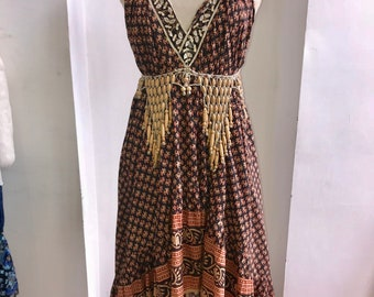 Vintage, Phool print halterneck dress