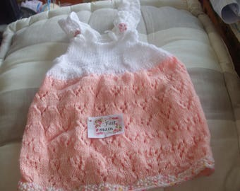 dress baby girl birth summer knit stitch pink and white fancy buttons bears