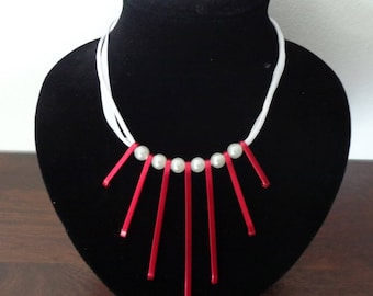 Red and white Choker necklace