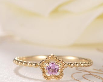 Pink Sapphire Engagement Ring Rose Gold Flower Ring Floral Unique Antique Sakura Eternity Beaded Birthstone Gift Anniversary Promise Women
