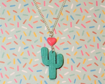 Cactus and Heart Necklace jewellery quirky gift present girl love terrarium dessert flower plant floral