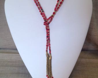 Long bohemian necklace red beads.