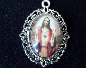 1 pendant medal Christian Jesus 29 mm