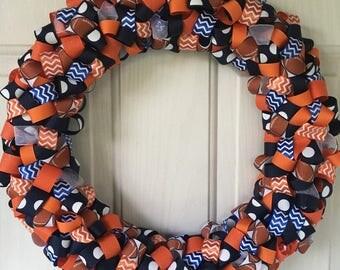 Football Themed Ribbon Wreath
