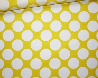 Polka dots, white circles on yellow 100% cotton fabric printed 50 x 160 cm