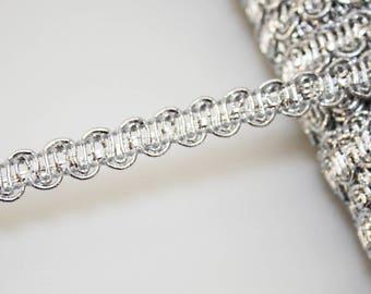 Braid silver 9 mm braid trimmings, 1 m, Silver Ribbon
