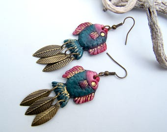 """Earrings """"Fishes"""" cold porcelain"""