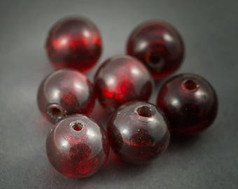 2 large round glass beads • dark red transparent inclusion • 22 mm silver foil