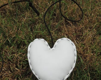handmade White Leather heart