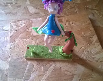 Decorative figurine: Nasturtium and her ladybirds in cold porcelain