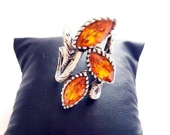 Orange Topaz swarovski Adjustable ring