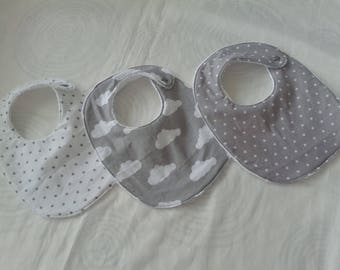 Star and cloud grey and white baby bibs