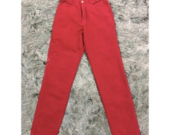 "Vintage Bergamo Ultra High Waist Red Denim Mom Jeans Sz 13 28""W"