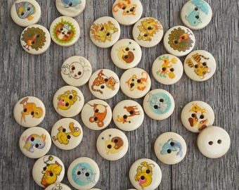 """Set """"surprise"""" of 10 buttons, animals, 15mm / / A27"""