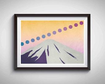 Mt Fuji Print, Mountain Wall Art, Moon Art Print, Mountain Poster, Nature Print, Moon Print, Home Decor, Apartment Wall Art, Meditation Art