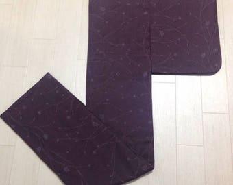 Purple Wool Grass Print Komon Kimono