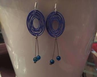Pretty swirl and Blue Pearl Earring