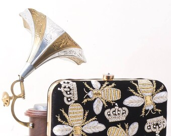 Queen Bee Embroidered Wedding, Formal Party,  Evening Black Clutch Bag