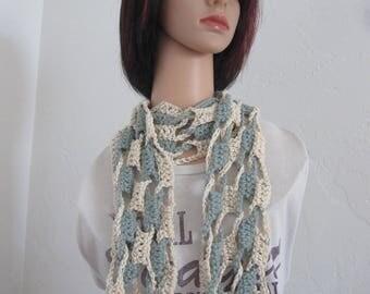 Blue/cream crocheted cotton lightweight spring/summer/fashion scarf