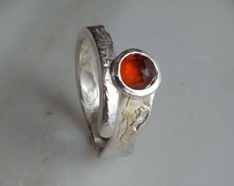 Silver ring, silver ring gold, gemstone ring, women ring, ring, ring orange stone ring, unique ring, melted