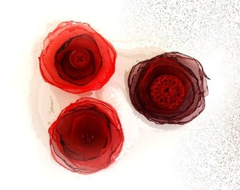 set of 3 red and Burgundy organza flowers