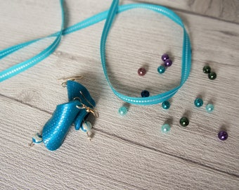 Earrings blue green teal silver hook and bead glass