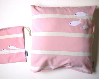 Kids pillow cover 40 x 40 also can be used as Cushion cover, pink white striped off